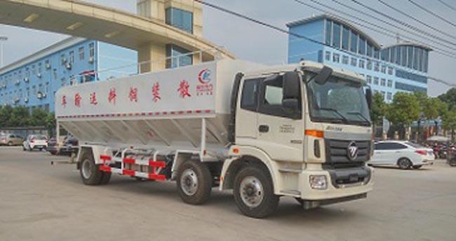 30立方(15吨)电动欧曼小三轴散装饲料车