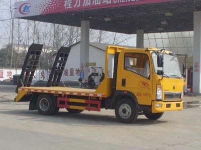 拉6-8吨挖机重汽王牌平板运输车