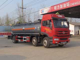 13方氢氯酸,稀硫酸解放小三轴腐蚀性物品罐式运输车