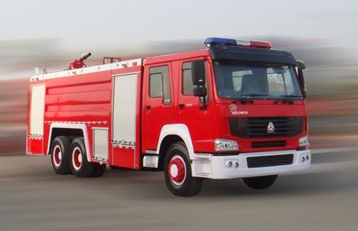 重汽豪泺牌10吨泡沫消防车
